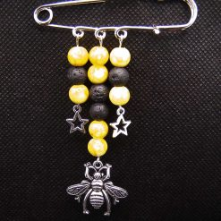 Kilt Pin Diffuser Brooch, Glass Beads with Honey Bee and Stars charms, Handmade, Free UK Postage