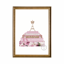 Designer Fashion Inspired Pink/White Peony Eiffel Tower Print with Faux Glitter, A4, Home Decor, Wall Art