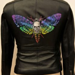 Skullymoth Hand Painted Leather jacket size 16