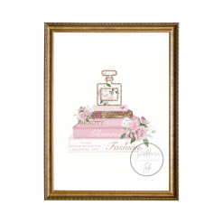 Designer Fashion Inspired Watercolour Bouquet Collection Set of 4 Prints with Faux Glitter, A4, Home Decor, Wall Art