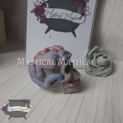 Stone look grey and pink/purple skull with snakes. Eco resin, jesmonite, goth.