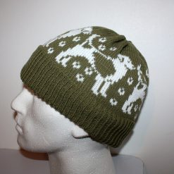 Beagle Dogs Beanie Hat in Olive Green - with or without pompom - adults size