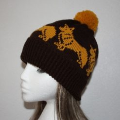 Dark Brown beanie hat with golden Corgi dogs - with or without pompom option - Unisex teenager upto adult size