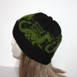 Green Dragons on Black Beanie Hat - with or without Pompom option - Teenager upto adult