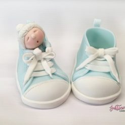Booties Sleeping Baby Fondant Cake topper (any colour)