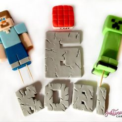 Set of Edible Minecraft Cake Toppers figurines number and Name Personalise