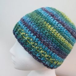 Green and blue striped crochet beanie hat - Free 1st class shipping