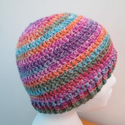 Multi coloured striped crochet beanie hat - Free 1st class shipping
