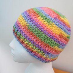 Pastel rainbow crochet beanie hat - Free 1st class shipping