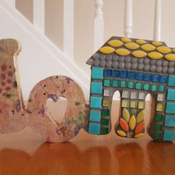 HOME wooden mosaic 15x6 ins
