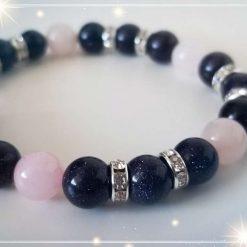 Blue Goldstone with Rose Quartz Elastic Bracelet