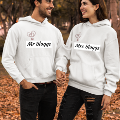 Personalised Mr and Mrs (or Mr and Mr, Mrs and Mrs) Hoodies Newlyweds - Pack of Two!