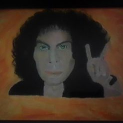 Art Portrait Ronnie James Dio Inspired Acrylic Paint Black Glass Framed