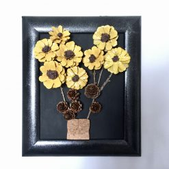 Pinecone 3D Floral Picture Sunflower Bouquet Wall Hanging Handmade in the UK (free p&p)