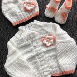 Hand knitted baby cardigan, hat and sock booties 0-6 months