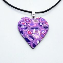 Klimt inspired heart pendant in lilac, purple and pink