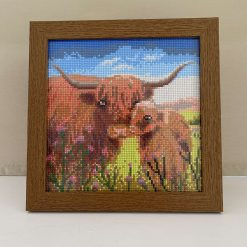 Highland cow & calf picture, wall hanging, free standing, home decor, wall art, rhinestone decoration, highland cow lovers, animal lovers