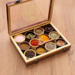 Dual-Tone Wooden Handcrafted Spice Box/ Masala Dabba with 12 Round Compartments & Spoon, Sheesham Wood Spice Box Set