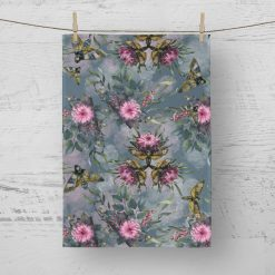 Tea Towel Gothic Moth And Floral - 100% Cotton Poplin **Exclusive**