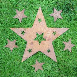 A Rusty Metal STAR with Star Cut Outs + 5 x SMALL STARS Garden Ornament Rustic Vintage Gift Birthday