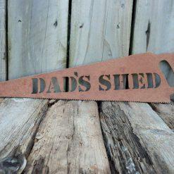 A Rusty Metal HANDSAW - 'DAD'S SHED' Garden Ornament Rustic Vintage Gift Birthday Dad Present