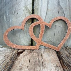 Two Rusty Metal Entwined HEARTS Garden Ornament Rustic Vintage Gift Birthday Special Present