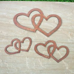 Two Rusty Metal Entwined HEARTS x 3 Garden Ornament Rustic Vintage Gift Birthday Special Present (Set of 3)