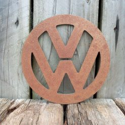 A Rusty Metal VW BADGE SIGN Garden Ornament Rustic Vintage Gift Birthday Present Party Sign