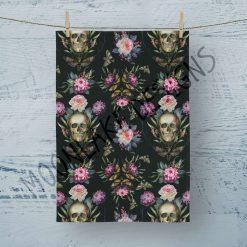 Tea Towel Skulls Goth - 100% Cotton Poplin **Exclusive**