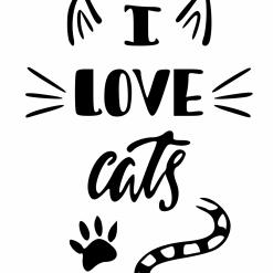 I love Cats SVG| Digital File | Cricut | Silhouette | ESP DXF JPG PNG PDF