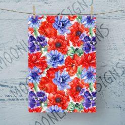 Tea Towel Poppy And Cornflowers - 100% Cotton Poplin **Exclusive**