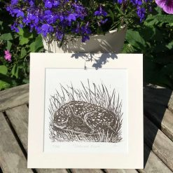 Deer print, Original limited edition linocut / lino print of a Deer Fawn entitled 'Sledmere Fawn'