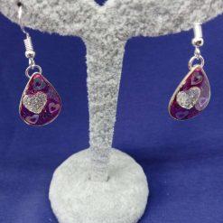Pink heart drop earrings
