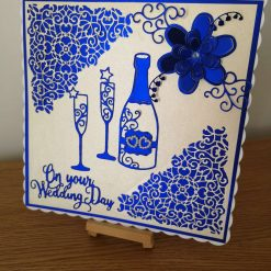 Navy and ivory wedding card