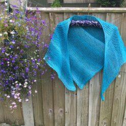Shawl - hand crochet blue cotton