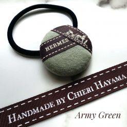 Hermes ribbon hairband/ hairtie- green