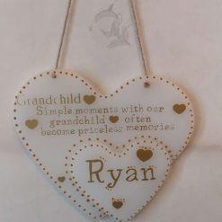 handmade personalised love heart plaque resin
