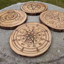 Wooden log slice coasters, Wiccan, Wicca, Pagan. witches, Sabbat wheel, Wheel of the year calender.