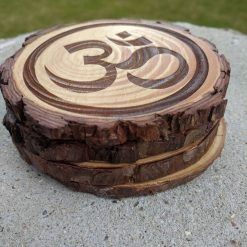 Wooden Log slice Coasters, Hindu, All Awareness, Om Symbol.