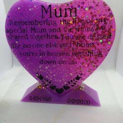 keepsake memory love heart with stand resin personalised