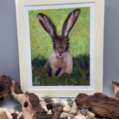 A4 mounted needle felted sheep print