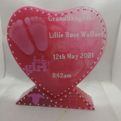 keepsake new baby love heart with stand resin personalised