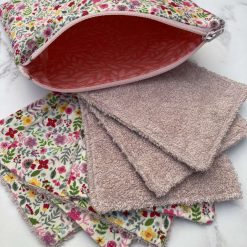 Pink floral makeup/face wipes (pack of seven and pouch)