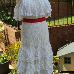 Hand Crochet White Ruffle Dress, wedding,  Prom Dress.