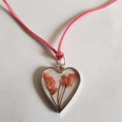 Pretty Real Flower Heart Leather Cord Pendant Necklace.