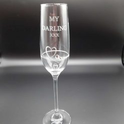 """Personalised """"MY DARLING XXX"""" Single Diamante Petit Champagne Flute With a Heart Design"""