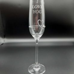 """Personalised  """"I LOVE YOU"""" Single Diamante Petit Champagne Flute With a Heart Design"""
