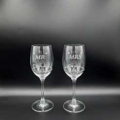"""Personalised """"MR and MRS"""" Double Diamante Petit Wine Glasses with a Heart Design"""