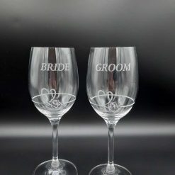 """Personalised """"BRIDE and GROOM"""" Double Diamante Petit Wine Glasses with a Heart Design"""