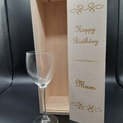 Personalised Happy Birthday Sliding Lid Wooden Wine Box for 1 Bottle